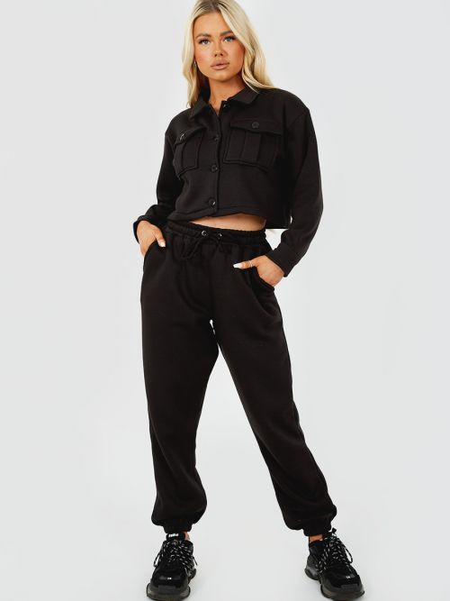 Marie Utility Button Top & Jogger Co-ord In Black