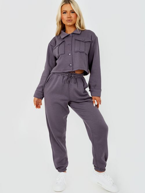 Marie Utility Button Top & Jogger Co-ord In Charcoal