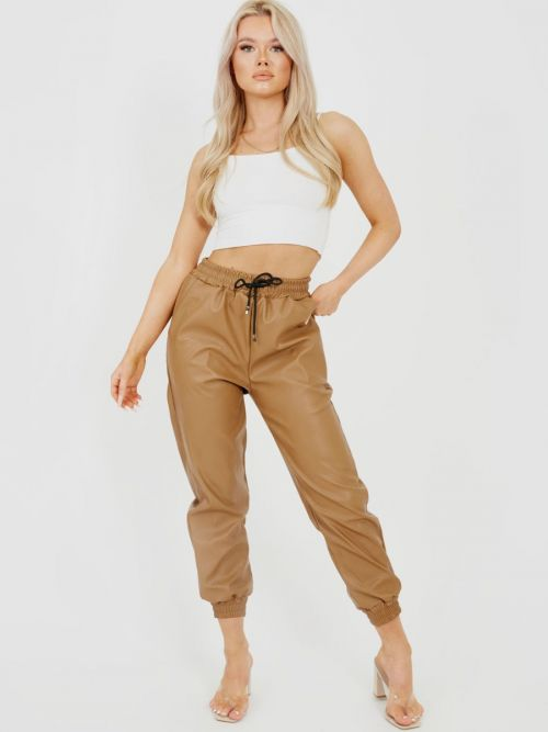Miya Faux Leather PU Jogger Trousers In Camel