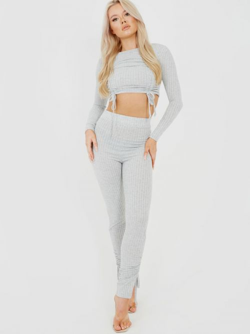 Donna Double Ruched Crop Top & Trouser Ribbed Co-ord In Grey