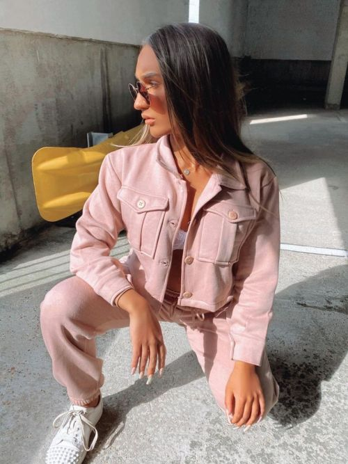 Marie Utility Button Top & Jogger Co-ord In Rose