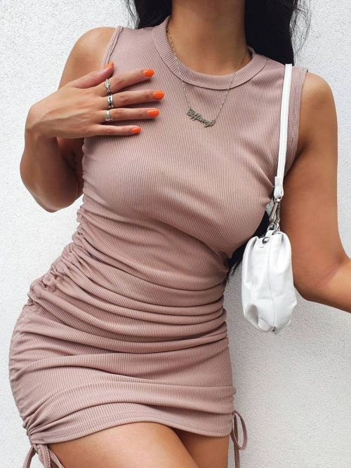 Silvana Sleeveless Ribbed Ruched Dress In Stone