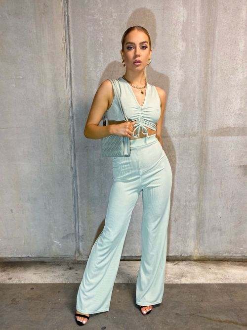 Katrina Sleeveless Ruched Crop Top & Trouser Ribbed Co-ord In Mint