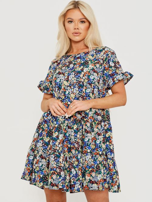 Leny Multi Ditsy Floral Print Frill Tiered Smock Dress In Navy