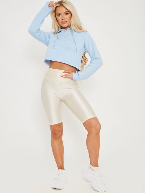 Frankie Satin Cycling Shorts In Nude