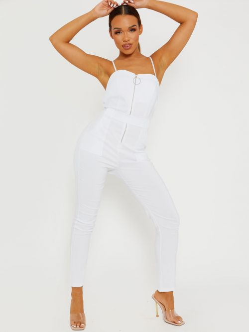 Keyra Zip Front Belted Cami Jumpsuit In White