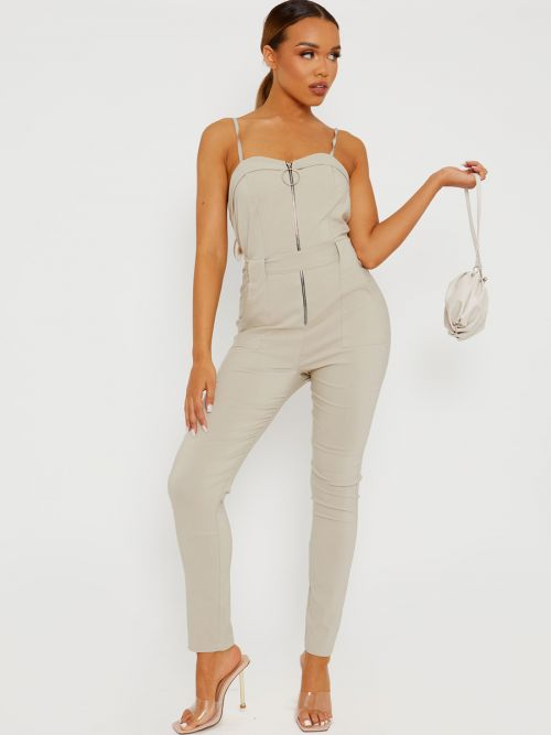 Keyra Zip Front Belted Cami Jumpsuit In Stone
