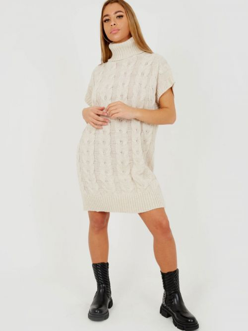 Annya Oversized Roll Neck Cable Knit Dress In Stone