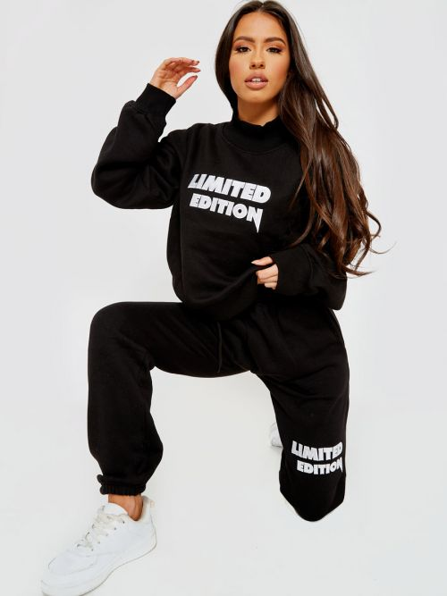 Nikki Embroidered Limited Edition Fleece Co-ord In Black