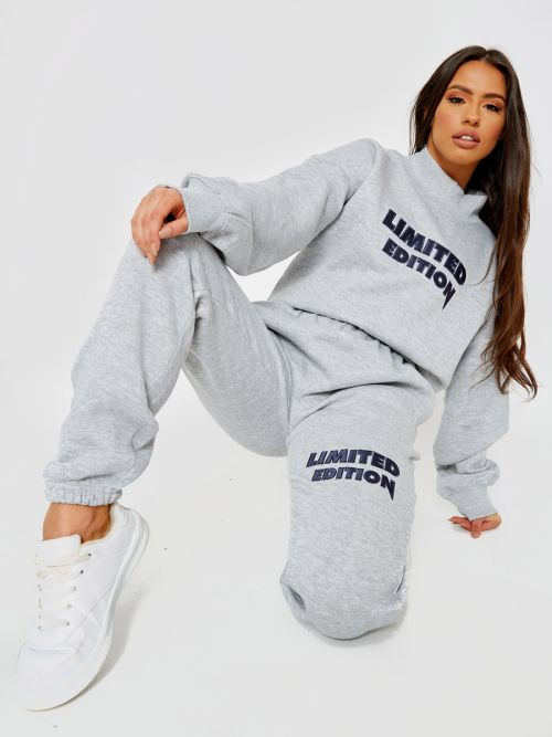 Nikki Embroidered Limited Edition Fleece Co-ord In Grey