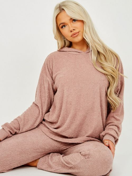 Carys Towelling Hooded Top & Trouser Co-ord In Rose