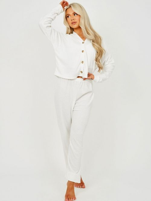 Carly 3 Piece Towelling Co-ord Set In Cream
