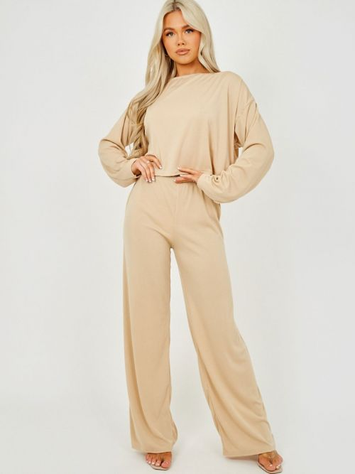 Marian Off Shoulder Ribbed Co-ord In Stone