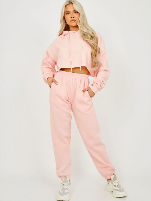 Abbi Raw Hem Cropped Hoodie & Jogger Fleece Co-ord In Pink