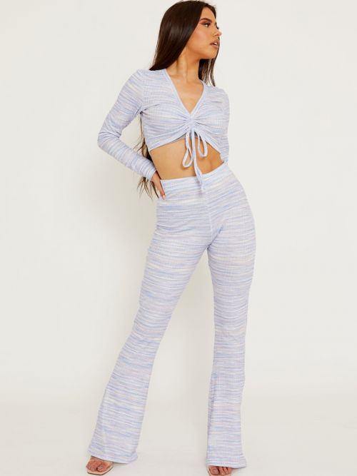 Lesley Multi Coloured Ruched Crop Top & Trouser Co-ord In Blue