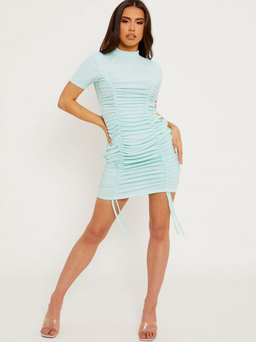 Aimie High Neck Ribbed Ruched Dress In Mint