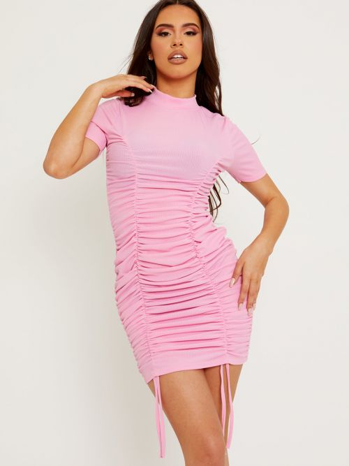 Aimie High Neck Ribbed Ruched Dress In Pink