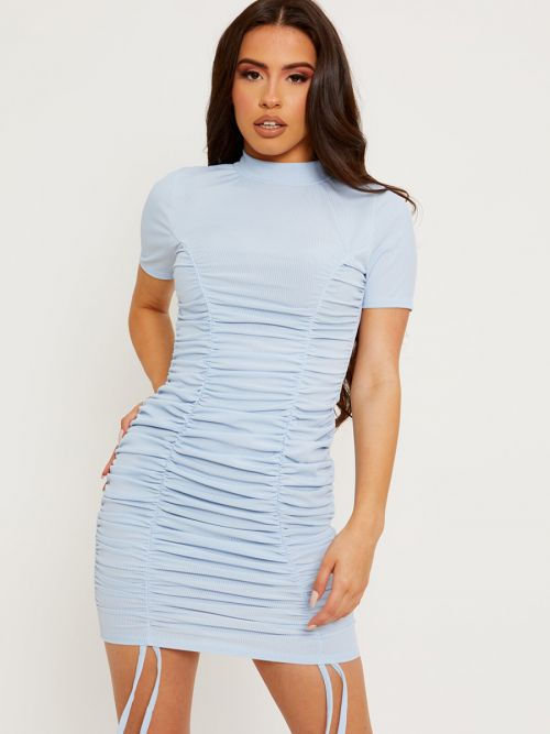 Aimie High Neck Ribbed Ruched Dress In Blue