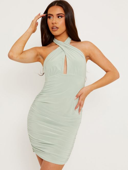 Naya Cross Front Slinky Halter Ruched Dress In Green
