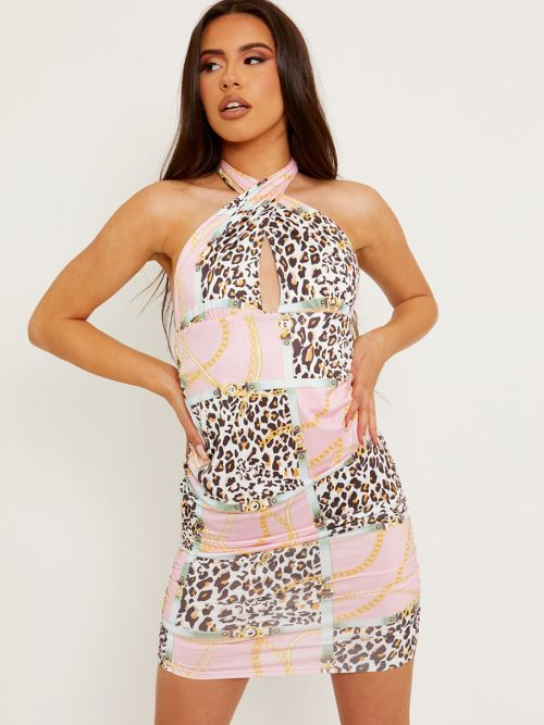Lenny Leopard Chain Print Slinky Halter Ruched Dress In Pink