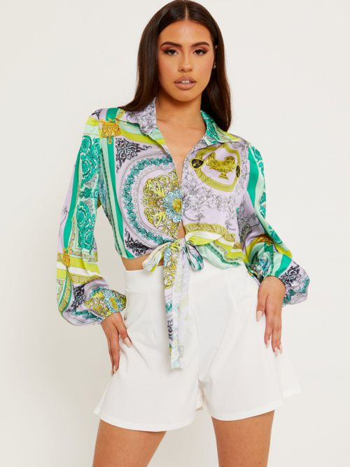 Leni Patterned Print Tie Knot Shirt Top In Green