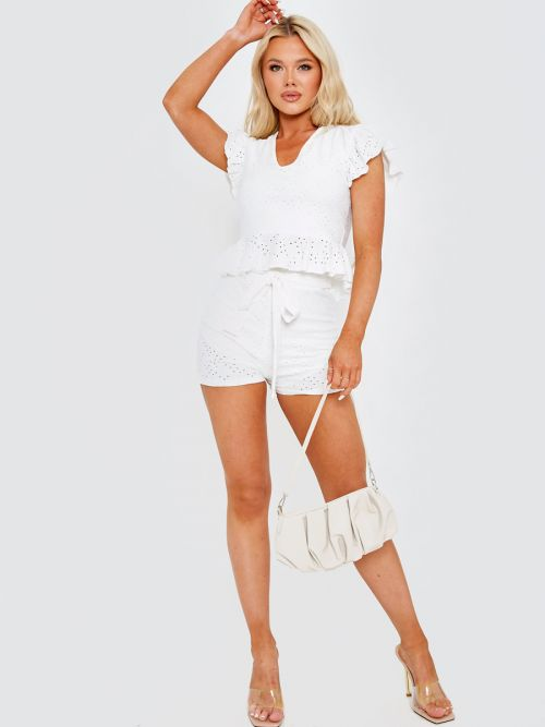 Caidi Anglaise Frill Top & Belted Shorts Co-ord In Cream