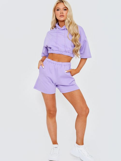 Nawel Cropped Hoodie & Shorts Fleece Co-ord In Lilac