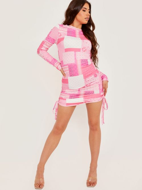 Laura Long Sleeves Printed Ribbed Ruched Dress In Pink