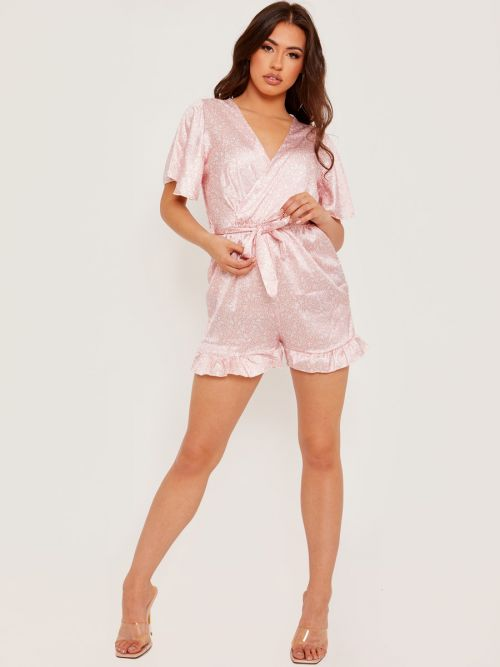 Amina Wrap Front Belted Satin Printed Playsuit In Pink