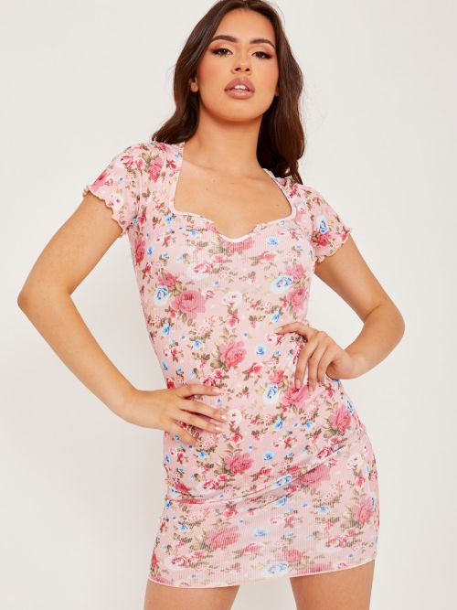Alexis Plunge Neck Ribbed Floral Dress In Pink