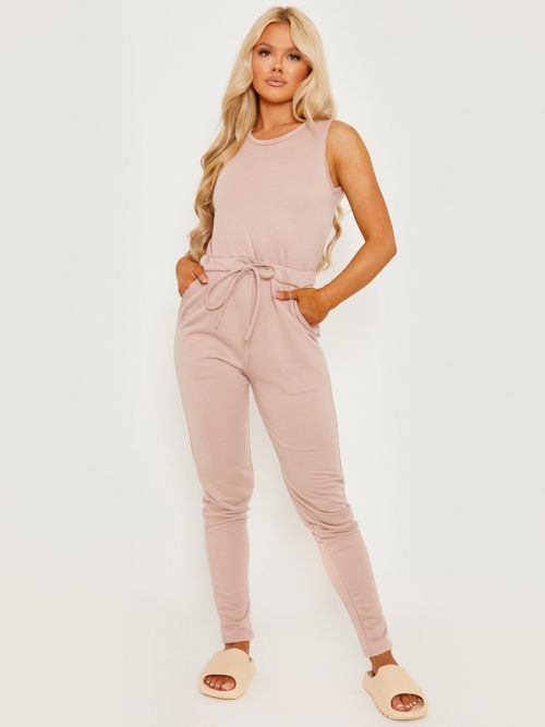 Evie Tie Knot Back Sleeveless Jumpsuit In Stone