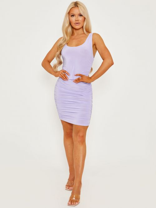 Tiana Open Back Slinky Ruched Dress In Lilac