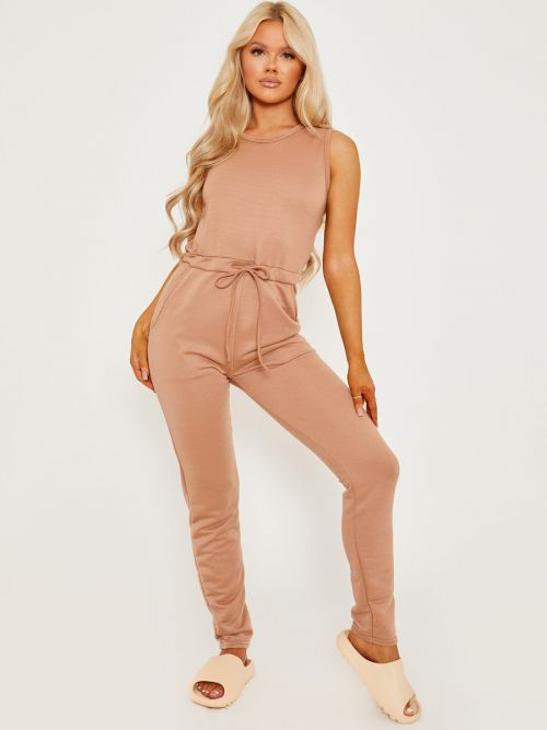 Evie Tie Knot Back Sleeveless Jumpsuit In Camel