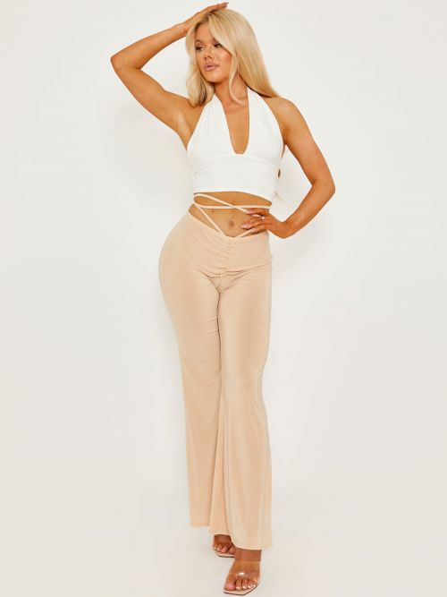 Micia Slinky Ruched Tie Waist Wide Leg Trousers In Stone