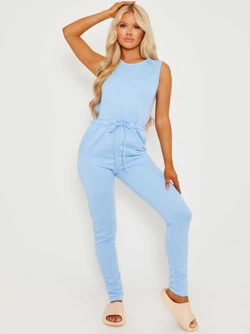 Evie Tie Knot Back Sleeveless Jumpsuit In Blue