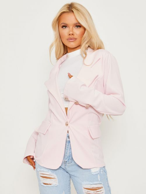 Keith Straight Fit Single Button Blazer In Pink