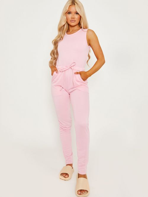 Evie Tie Knot Back Sleeveless Jumpsuit In Pink