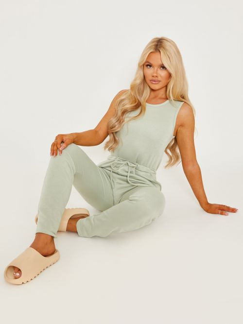 Evie Tie Knot Back Sleeveless Jumpsuit In Green