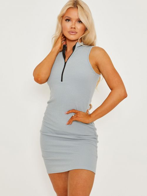 Melly Sleeveless Zip Detail Ribbed Bodycon Dress In Grey