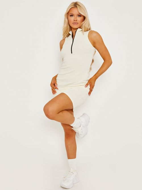 Melly Sleeveless Zip Detail Ribbed Bodycon Dress In Cream
