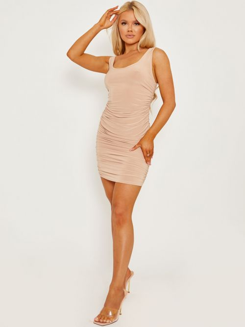 Tiana Open Back Slinky Ruched Dress In Stone