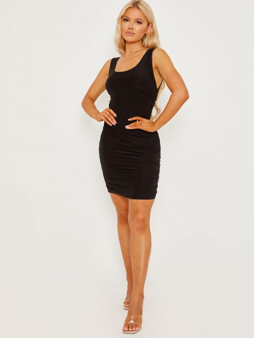 Tiana Open Back Slinky Ruched Dress In Black