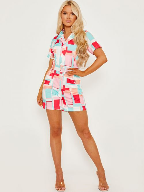 Georgia Geo Print Blazer Style Belted Playsuit In Red