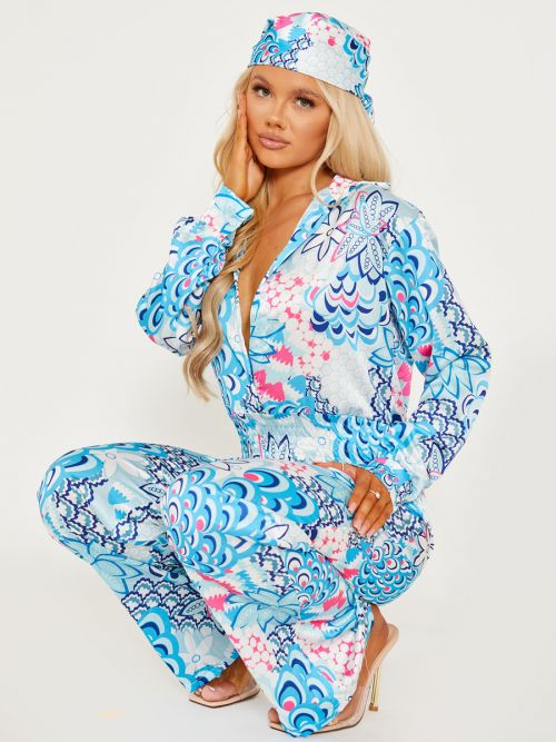 Zahra Printed Satin Jumpsuit With Matching Bandana In Blue