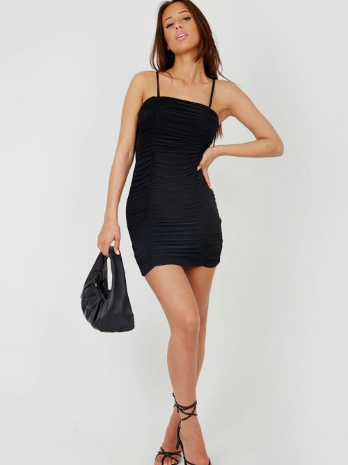 Kelly Tie Knot Strap Ruched Dress In Black