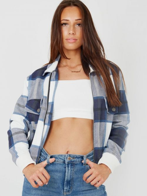 Alicia Zipped Classic Thick Colour Block Checked Shacket In Navy
