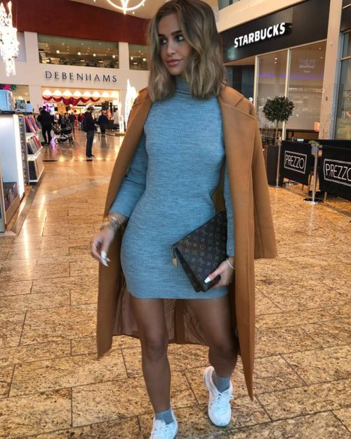 Persia Roll Neck Ribbed Jumper Dress In Grey