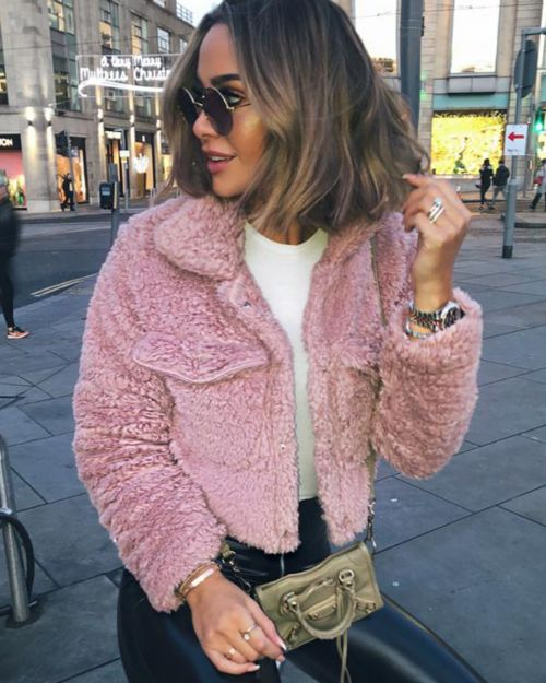 Sophia New Borg Popper Button Cropped Jacket In Pink