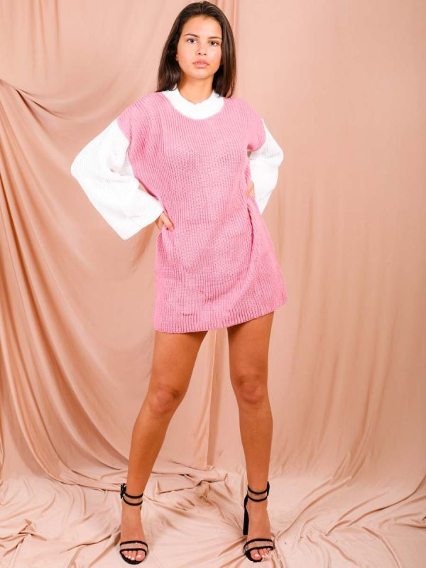 Kim Contrast Sleeve Knitted Jumper Dress In Pink
