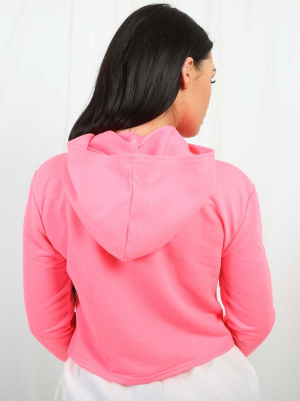 Paris Couture Lip Print Cropped Hoodie In Neon Pink